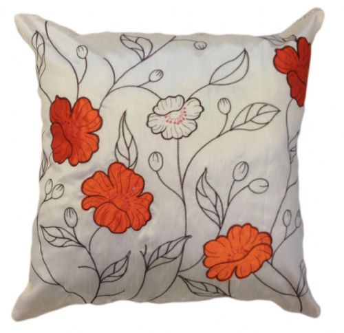 LARGE FLORAL DESIGNER FAUX SILK STYLISH FILLED CUSHION ORANGE & CREAM COLOUR